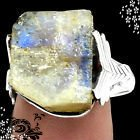 New - Natural Moonstone Rough 925 Sterling Silver Ring - Size 8 in Alamogordo, New Mexico