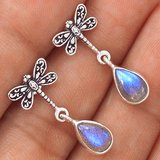 New - Dainty Dragonfly Rainbow Moonstone 925 Sterling Silver Earrings in Alamogordo, New Mexico