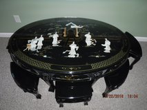Oval Tea Table made in Black Lacker with Mother of Pearl Inlaid in Savannah, Georgia