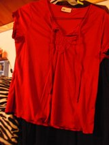 SLEEVELESS V-NECK BLOUSE WITH EMBROIDERY AT NECKLINE in Fort Polk, Louisiana