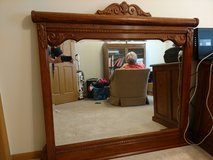 Beveled mirror with solid oak frame in Naperville, Illinois