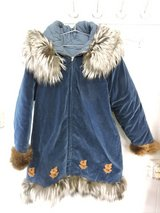 Alaskan Homemade Blue Coat with Fur Hood & Cuffs in Yucca Valley, California