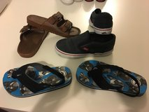 Lot of 3 pairs of kids shoes Vans and 2 pair of sandals size US10 in Okinawa, Japan