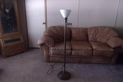 Brass Swivel Floor Lamp with Milk Glass Shade in Alamogordo, New Mexico