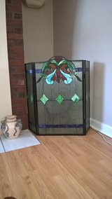 stain glass fireplace screen in Chicago, Illinois