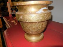 VINTAGE SOLID BRASS FLORAL ENGRAVED VASE PLANTER in Tomball, Texas