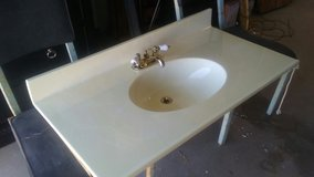 artisan marble bathroom counter top in Yucca Valley, California