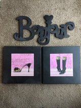 Glitter Bonjour Sign and 2 Black and Pink French Canvas Wall Art Pictures in Fort Riley, Kansas