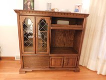 Medium solid Oak Entertainment Center/Bar with Roll Top cabinet in Chicago, Illinois