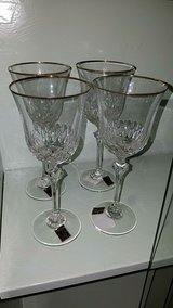 gold trim real crystal wine glasses in Cleveland, Texas