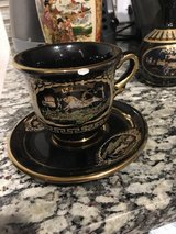 hand painted 24kt gold inlay Greek tea cup and saucer in San Antonio, Texas