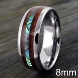 New Men's Size 12 and 13, Wood and Abalone Ring in Fort Polk, Louisiana
