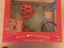 "GirBicycle with Helmet for 18"" Dolls - NEW in Naperville, Illinois"