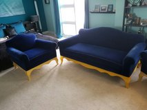 Blue Velvet Couch with Chairs in Bolingbrook, Illinois