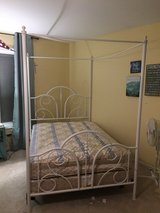 Four Poster Bed Frame - White metal in Bartlett, Illinois