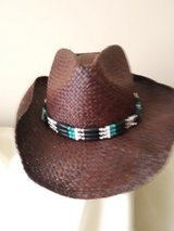 Vintage Fedora Woven Men's Hat - Brown w/ Beaded Band in Glendale Heights, Illinois