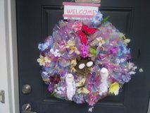 spring welcome wreath in Kingwood, Texas
