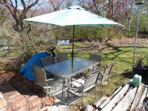 GLASS & METAL PATIO TABLE / 6 CHAIRS & UMBRELLA in Cherry Point, North Carolina