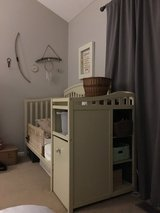 Custom painted 3 in 1 baby crib with storage in Aurora, Illinois