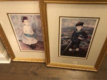 Pair of RENOIR PRINTS Gold Framed girl and boy in Beaufort, South Carolina