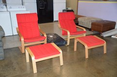 Pair of Sling Chairs w/ ottomans w extra pad. in Tacoma, Washington