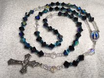 Rosary Black AB Crystal Beads Full Color Middle Medal Italian Silver Crucifix All Glass Beads Cu... in Kingwood, Texas