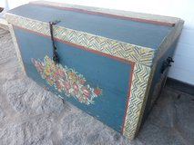 very old wooden trunk with peasant painting in Stuttgart, GE