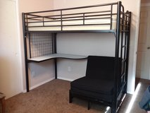 Twin Loft Bunk Bed w/ Desk and Mattresses in Fort Irwin, California