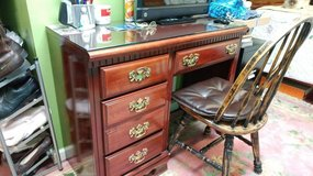 Cherry Desk with glass top in Clarksville, Tennessee