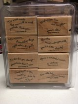 Stampin Up selection of saying sets, wood mounted, gently used in Lockport, Illinois