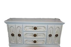 Dresser / Buffet/Console. Beautiful grayish Blue color . matching king headboard available. in Morris, Illinois