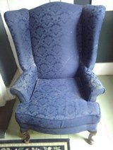 Navy blue damask wing back chair in Warner Robins, Georgia