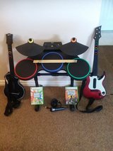 Guitar Hero drums, guitars, microphone, 2 games- XBOX 360 in Fort Irwin, California