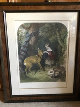 Framed and Matted Painting of a Girl Feeding a Deer by Sir Edwin Landseer in The Woodlands, Texas