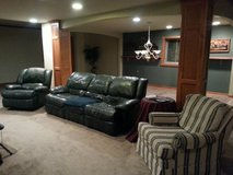 Leather Reclining Couch & Reclining Rocker + Matching Striped Chair in Joliet, Illinois