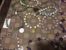 Hand strung jade, amethyst, hematite, or crystal stretch bracelets in 29 Palms, California