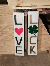 Handmade Wood Signs 'Luck' and 'Love' in Bolingbrook, Illinois