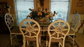Glass wrought iron table with 6 chairs in Camp Lejeune, North Carolina