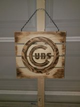 CUBS Logo Handmade Sign in Burned Wood in Bolingbrook, Illinois