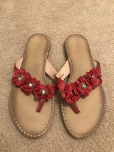 Red Flower Size 9 Bamboo Sandals in Fort Bragg, North Carolina