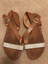 Brown and Gold Size 9 Sandals in Fort Bragg, North Carolina