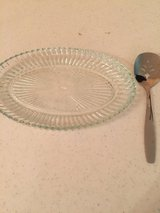 Vintage Glass Oval Relish Nut Dish w/Spoon in Eglin AFB, Florida