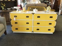 Vintage white and yellow dresser in Oswego, Illinois