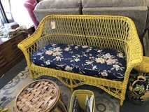 Yellow wicker loveseat in Naperville, Illinois