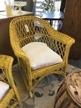 Yellow Vintage Wicker Rocker in Naperville, Illinois
