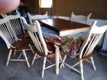 Solid wood table and 2 leafs and 6 chairs in Leesville, Louisiana