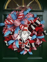Cat In The Hat Mesh Wreath in Bolingbrook, Illinois