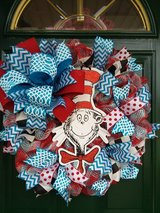 Cat In The Hat Mesh Wreath #2 in Bolingbrook, Illinois