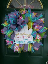 Happy Easter Mesh Wreath in Naperville, Illinois