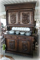 one of a kind Breton hutch with carved paintings in Ansbach, Germany